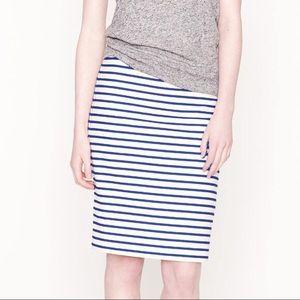 J. Crew navy white stripe linen Pencil Skirt 6